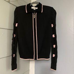 At. John Zip up CardiganBlack &Light Pink size6
